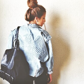 jacket blue jeans bag backpack hipster denim jacket