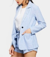 romper,shorts,girly,blue,white,stripes,two-piece,short,matching set,jacket