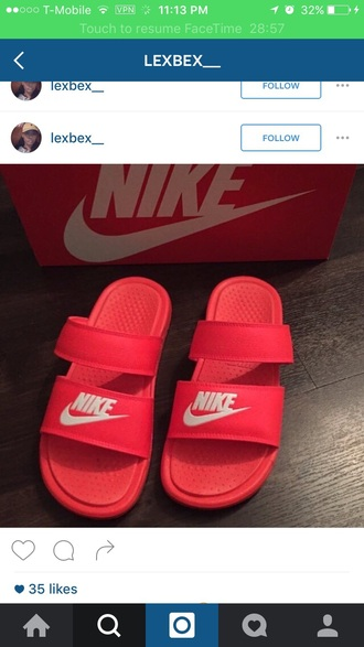 shoes red nike strap sandles