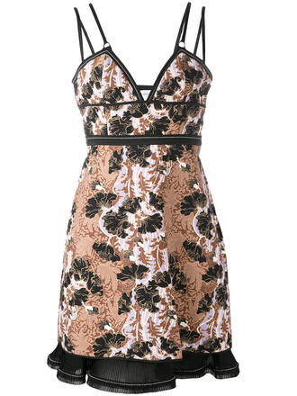 dress women jacquard floral black silk