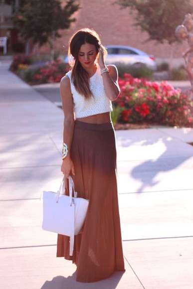skirt maxi skirt bag shirt brown bracelet jewels