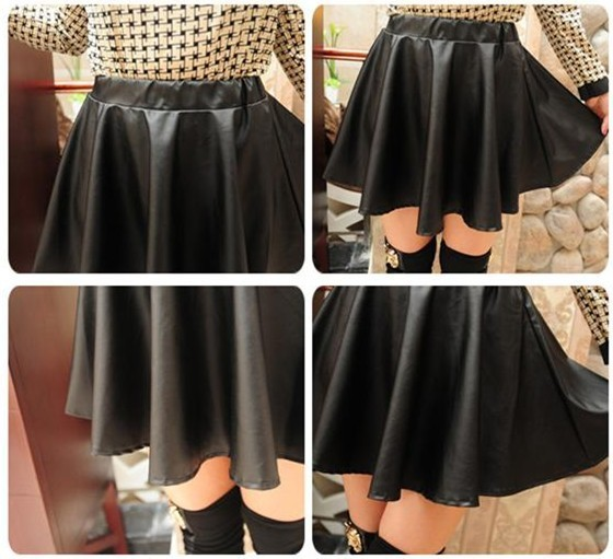 Black RED Faux Leather Mini Skirt High Waisted Flared Pleated ...