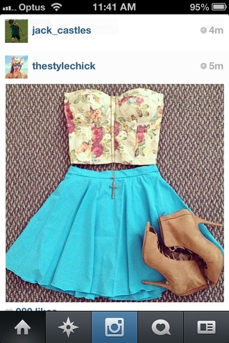 t-shirt corset top flowers shirt skirt bright blue floral light yellow
