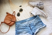shorts,clothes,jeans,denim shorts,bag,pants,camel brown,shoes,tank top,small,shoulder,shirt,tanktop.,converse,sunglasses