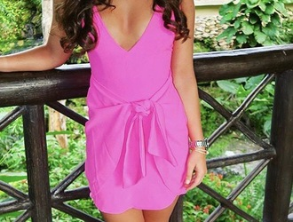 dress pink pink dress summer summer dress solid hot pink