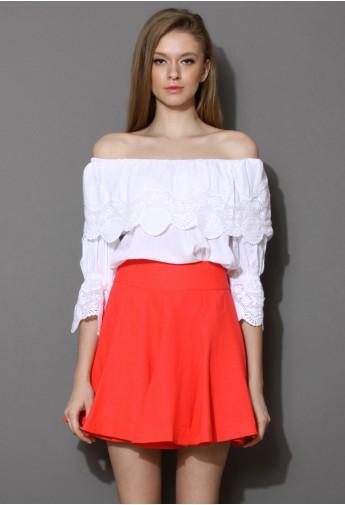 Off-shoulder Top With Lace Trim - Retro, Indie and Unique Fashion