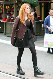 bella thorne,boots,fall outfits,leather jacket,little black dress,DrMartens,red hair,dress,shoes,jacket