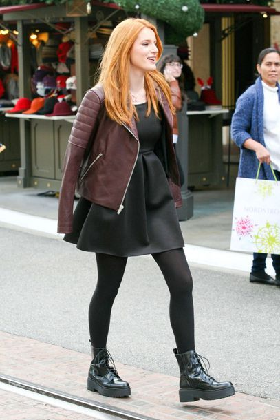 bella thorne boots fall outfits leather jacket little black dress DrMartens red hair dress shoes jacket