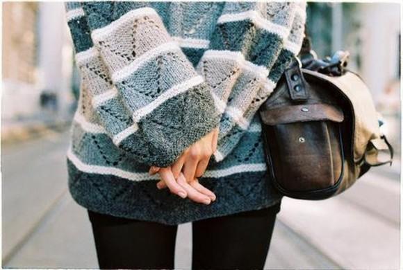 oversized sweater oversized sweater oversized cozy winter outfits cardigan jumper vintage blue white grey comfortable stripes blues tumblr bag