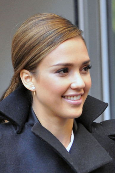 jessica alba earrings spike back pearl diamond gold