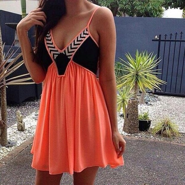 dress coral black chevron