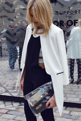 jacket black and white jumpsuit overalls bag white