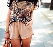 blouse,leopard print,shorts,pants,beige,pink