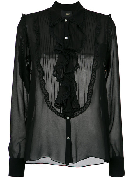 Andrea Bogosian shirt sheer women black silk top