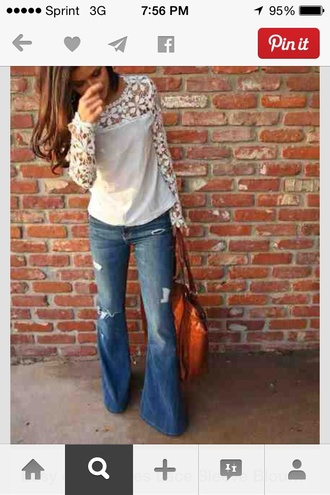 jeans denim flare bell bottoms flare jeans top