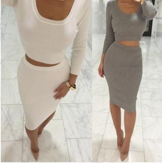 dress girl girly girly wishlist skirt bodycon bodycon skirt crop crop tops cropped white grey two piece dress set two-piece
