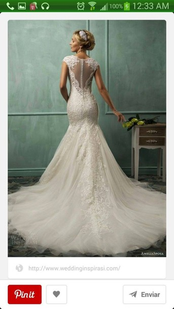 dress wedding dress lace mermaid