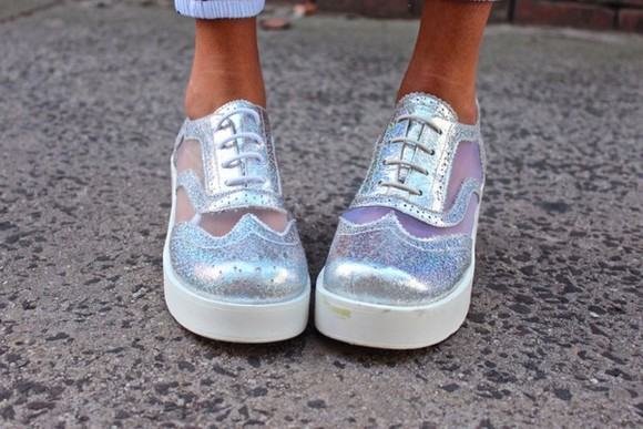 shoes oxfords silver net sparkly shiny see through white fashion glitter tumblr