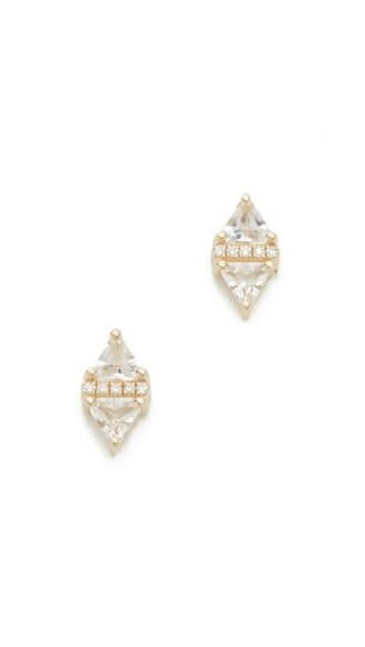 triangle clear earrings stud earrings gold white jewels