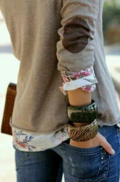 elbow patch shirt floral