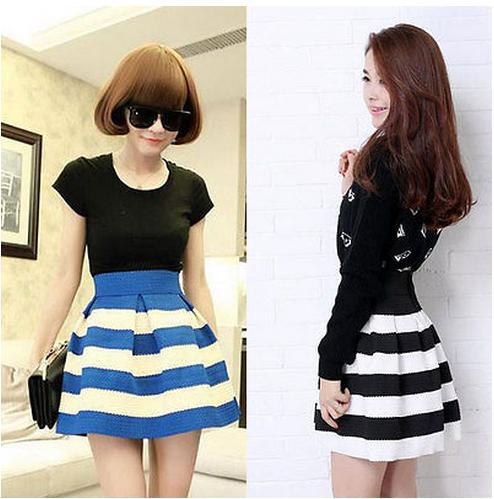 Aliexpress.com : Buy 2014 New Sweet Cute Women Girls Mini Dress Retro Flared Striped Skirt Casual Sexy Lady Skirts from Reliable skirt hippie suppliers on Dola's Wardrobe