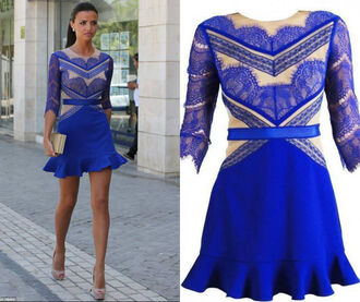 dress skater dress beige royal blue mini dress crop sleeves