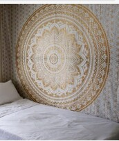 home accessory,gold  white  tapestry,mandala,home decor