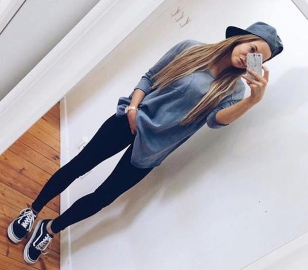 shirt, t-shirt, blue, tumblr, oversized, shoes, vans, old ...
