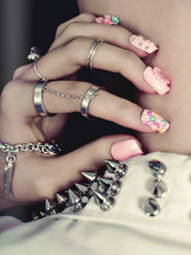 jewels,nails,spikes,nail polish