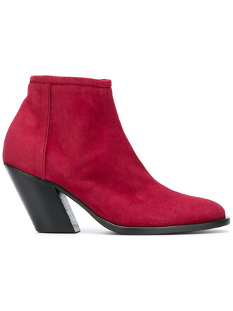 zip women boots ankle boots leather suede red shoes
