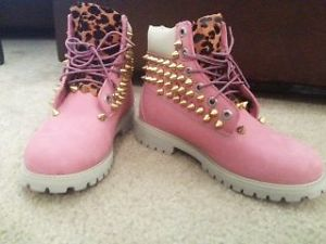 Pink Studded Timberland Boots with Cheetah Print | eBay