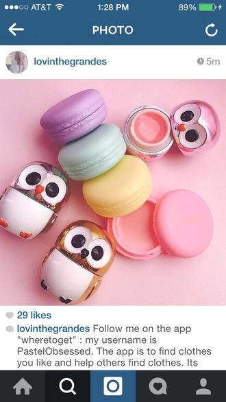 make-up owl macaron lip balm cute kawaii girly