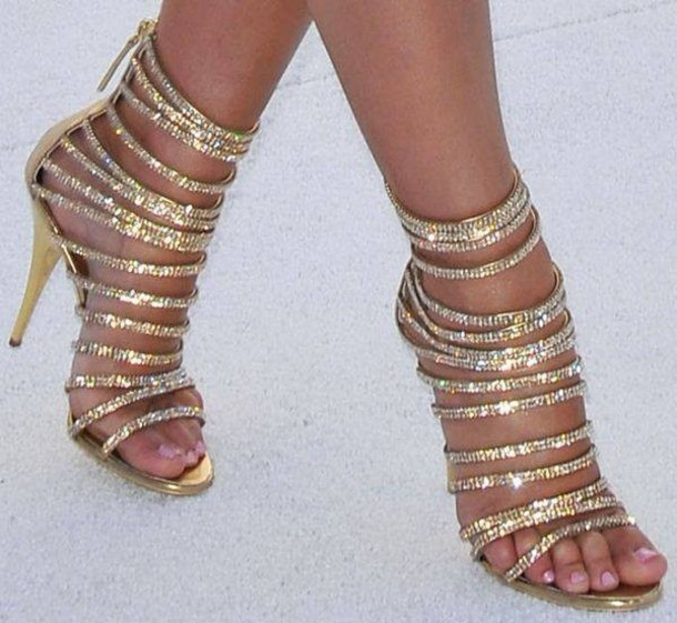 Gold Strappy High Heels - Wzx Shoes Jewels Nail Polish Nail Gold Sparcle High Heels Space Bag Strappy Glitter Strappy Shoes Diamonds Strapped Heels