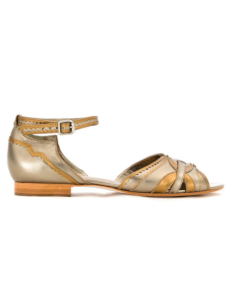 Sarah Chofakian women sandals grey metallic shoes
