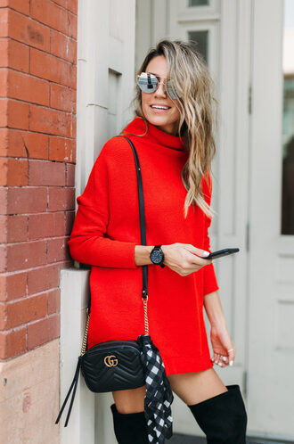 dress tumblr knit knitted sweater sweater dress red dress mini dress turtleneck dress turtleneck bag black bag sunglasses