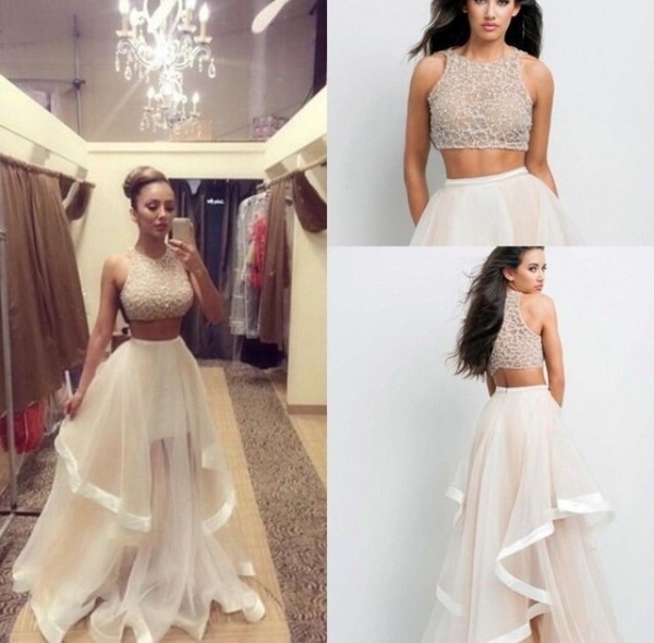Glamour By Terani Couture Beaded Bodice Two Piece Ball Gown Dillards