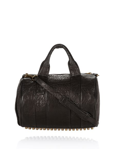 ROCCO IN BLACK PEBBLE WITH ANTIQUE BRASS - Shoulder Bags Women - Alexander Wang Online Store
