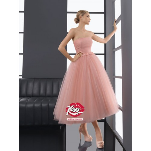 2013 Style A-line Strapless Bowknot Sleeveless Tea-length Tulle  Prom Dresses / Evening Dresses (SZ0254653)