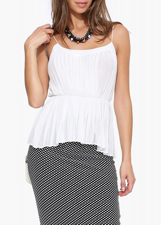 top camisole chiffon pleated white fashion polka dots skirt