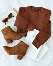sweater,brown sweater,shoes,brown shoes