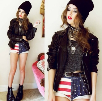 jacket hipster punk hipster punk beanie american flag the rolling stones edgy