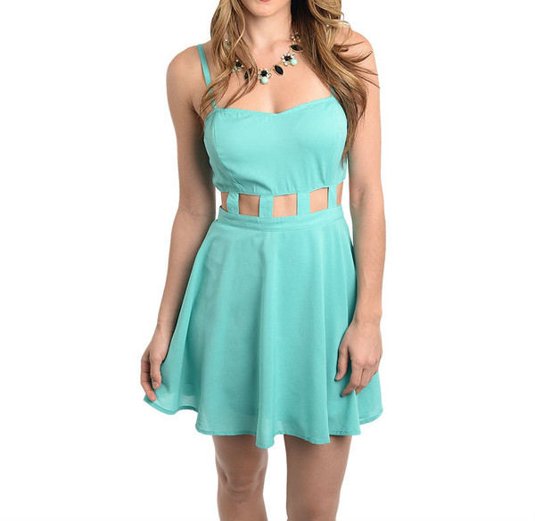 Cut-Out Skater Dress in Jade | Glamour Amour