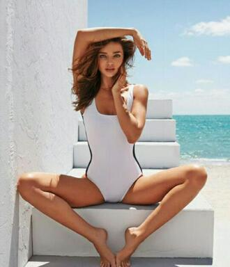 swimwear vintage black and white summer one piece swimsuit miranda kerr beach editorial