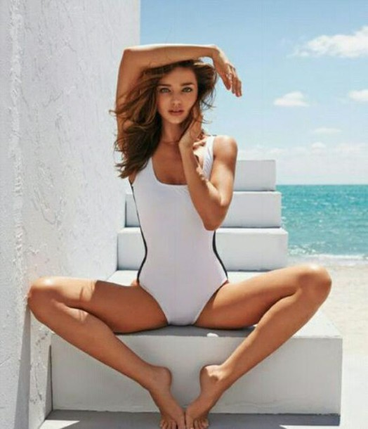swimwear vintage black and white summer one piece swimsuit miranda kerr beach editorial
