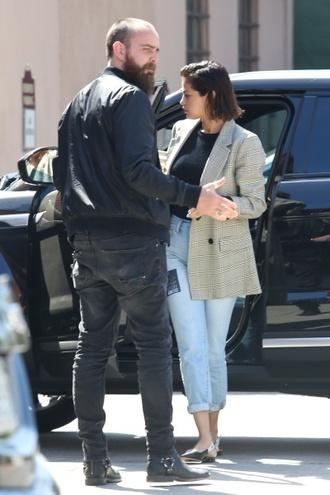 jeans blue jeans selena gomez black slingbacks check blazer