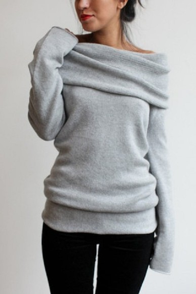 sweater comfy one shoulder shirt gray grey slouchy blouse gray, pullover slouchy sweater chunky sweater
