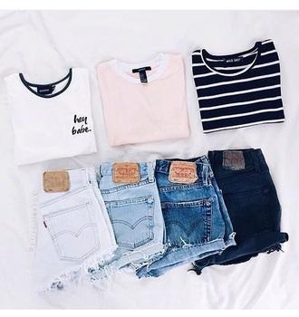 shorts t-shirt summer tumblr white denim shirt