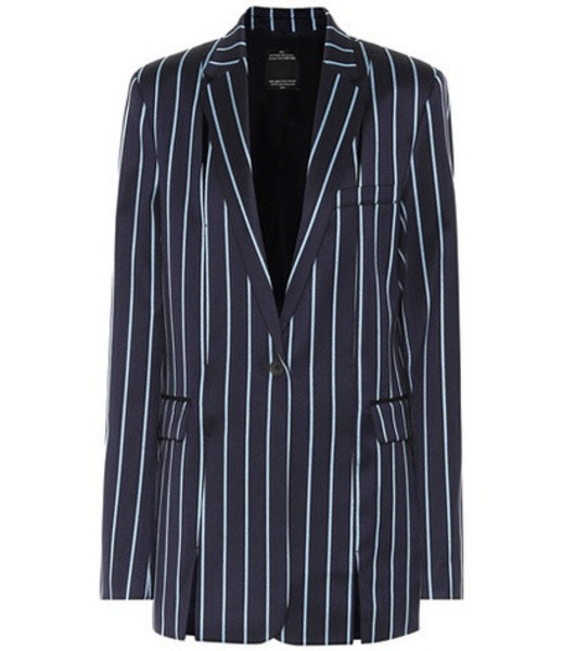 Rokh Striped wool and cotton blazer in blue