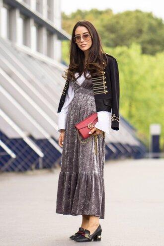 popsugar fashion blogger shoes bag dress skirt jacket velvet dress midi dress gucci gucci bag gucci shoes loafers