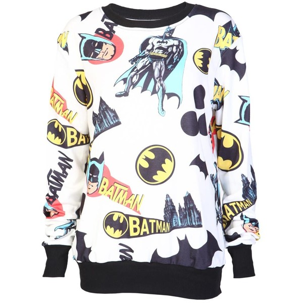 Cream Batman Sweatshirt - Polyvore